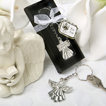 FREE SHIPPING(20pcs/Lot)+Cheap Wedding Party Souvenir Guardian Angel Key Ring Silver Keychain Baby Shower Favors