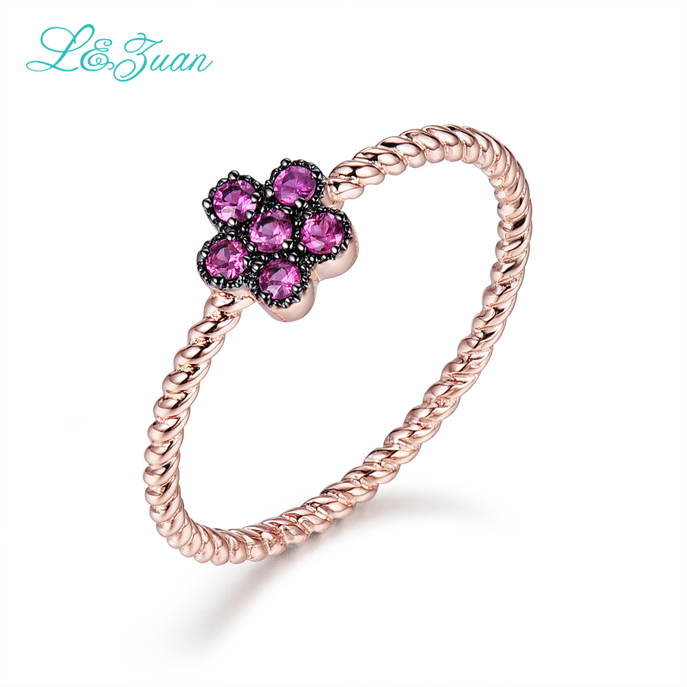 L&Zuan Sterling-silver-jewelry 14K Rose Gold Red Stone Ruby Rings Flower Ring Fine Jewelry For Women Fashion Accessories 0019-3