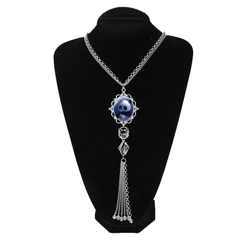 New High Quality Fashion Crystal Rhinestone Cute Silver Panda Necklaces Pendants For Women Tassel Jewelry
