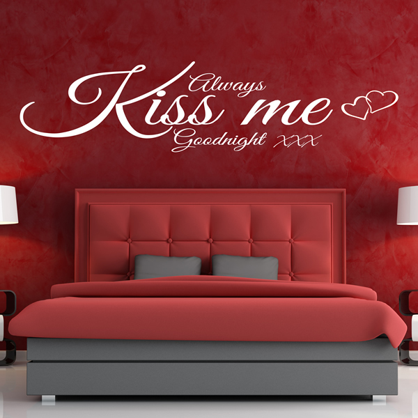 ALWAYS KISS ME GOODNIGHT WALL ART QUOTE STICKER   BEDROOM LOUNGE LOVE DECAL