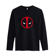 Deadpool High Quality T Shirt Men Long Sleeve Cotton with 2016 Men Fashion Tshirts Brand in Black/White 3Xl Soft Cotton Tees