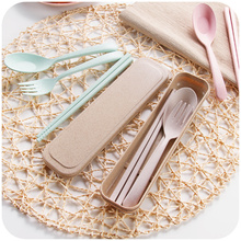 Wheat Straw Dinnerware Sets Spoon/Fork/Chopstics Kit Outside Travel Favor Biodegradable Healthy 3 pieces Set 4Color 2016 Fashion