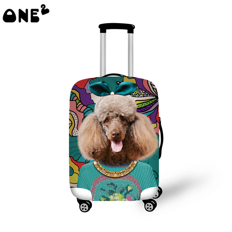 ONE2 Cute Fashion 3D Dog Pattern Travel Accessories Clear Luggage Cover Supply For 22 to 26