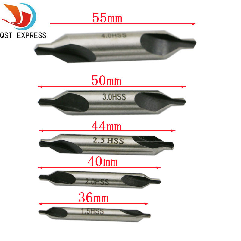Hot 5 HSS Combined Center Drills Countersinks 60 Degree Angle Bit Set Tool Metric 1.5mm 2.0mm 2.5mm 3mm 4mm