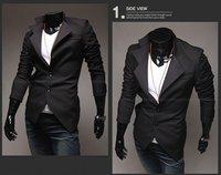 в свободного покроя подитожить костюм / мужчины черный поддельные два штук костюм / мужчины асимметрия стиль bardian костюм / пальто