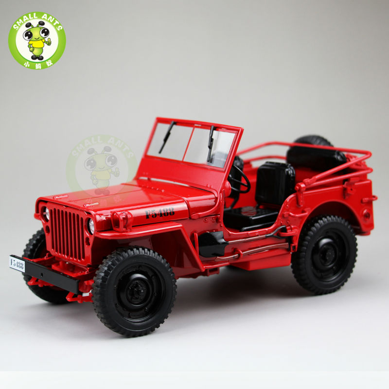 1:18 1/4 Ton US ARMY WILLYS JEEP TOP DOWN Diecast Car Toys Model Welly Red