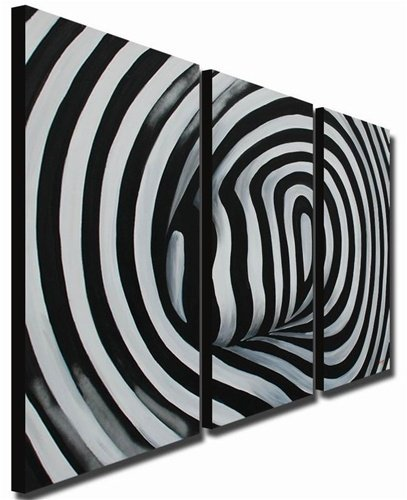 hand painted wall art black and white lines smooth home decoration
