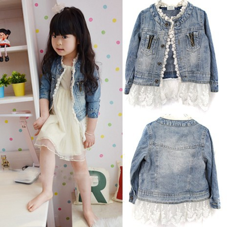 Girls Jean Jackets Kids Lace Coat Long Sleeve Button Denim Jackets For Girls 2-7Y 5
