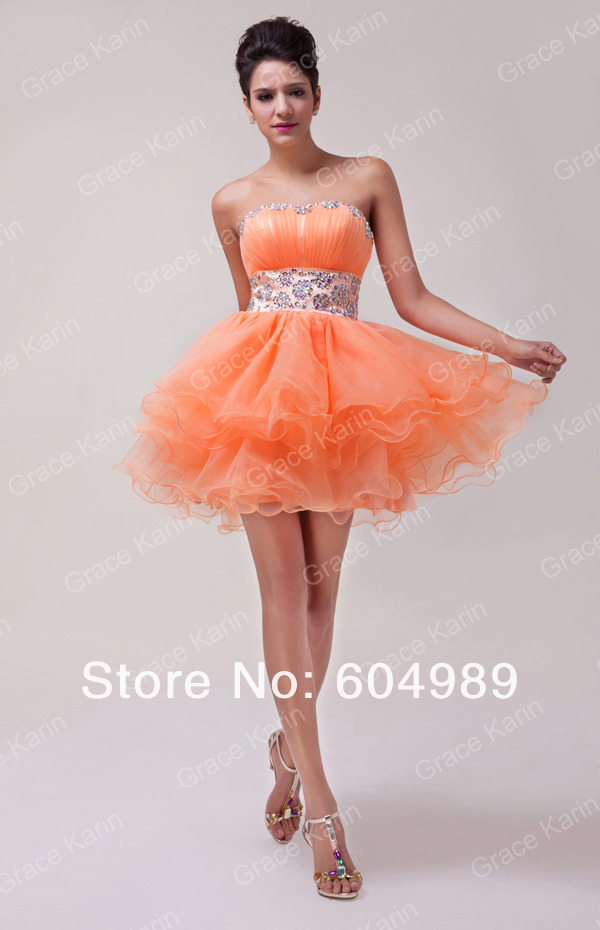 f412665f67974 Grace Karin Orange Sweetheart Back to School Prom Short Homecoming ...