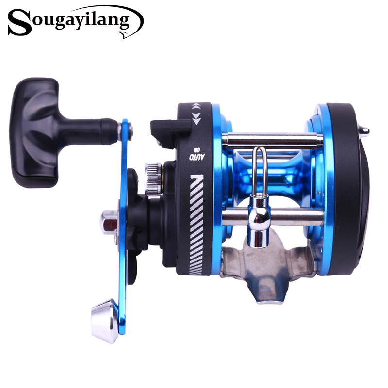 Sougayilang STH101AL Baitcasting Reel 5 Ball Bearings Carp Fishing Gear Bait Casting Fishing Reel Saltwater Fishing Reel Wheel trolling reel 9 1bb drum wheel carp baitcasting reels centrifugal brake casting saltwater fishing reel super power drag 30kg