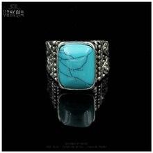 Vintage Men Calaite Stone Rings Craving Silver Tibet Boho Anillos Blue Green Male Bijioux Femme Jewelry