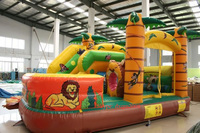 2016 PVC Outdoor Playground Plastic Slide Hot Inflatable Castle Bounce House For Kids