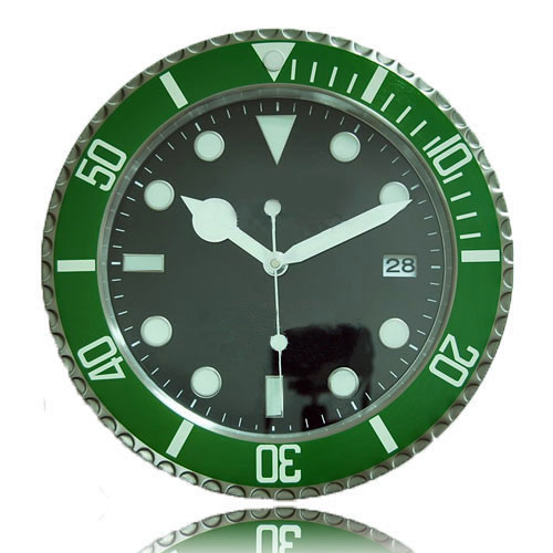 Brand New Modern Design Clock Wall font b Watch b font Metal Green Bezel Black Dial