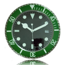 Brand New Modern Design Clock Wall Watch Metal Green Bezel Black Dial with Calendar Luxury Decor klok orologio da parete