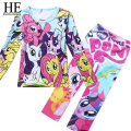 Hello Enjoy  kids clothes sets girls Casual clothing sets suits kids pajamas children 2 piece sleepwear home fashion 3~8 year
