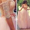 RF31 Милая Румяна Розовый Платье невесты Свадебное Платье 2016 С Плеча Короткие Рукава