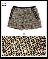 небольшой ароматный ветер черный провод / блестки ткани стретч зимние сапоги брюки шорты женская новинка летние шорты 429 ч