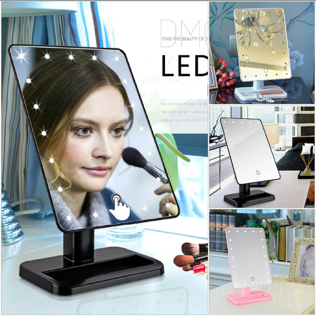 LED Makeup Mirror With Light Desktop Lamp Vanity Fashion Large Married  Princess Mirror Portable Touch Screen