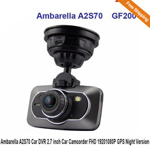 Ambarella A2S70GF200 Car DVR 2.7 inch Car Camcorder FHD 1920*1080P 170 Degree GPS Super Night Version Vehicle DVR Free Shipping!