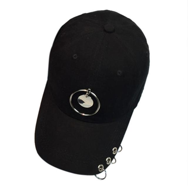 8a55b96ff63 Hot sale Brand Fashion Baseball Cap Black for Women Men Couple Metal Ring Baseball  Cap Unisex
