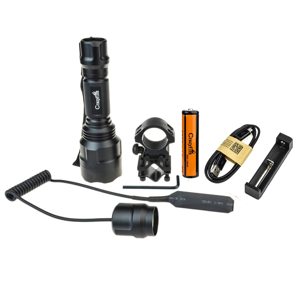 Camping Tactical Hunting C8 Led Flashlight CREE XML T6 Lantern Waterproof+1*18650+USB Battery Charger +Rifle Barrel Mount Switch фонарик ultrafire c8 cree xm l t6 xml 1000 5 18650 c8 t6