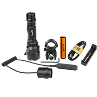 Camping Tactical Hunting C8 Led Flashlight CREE XML T6 Lantern Waterproof+1*18650+USB Battery Charger +Rifle Barrel Mount Switch