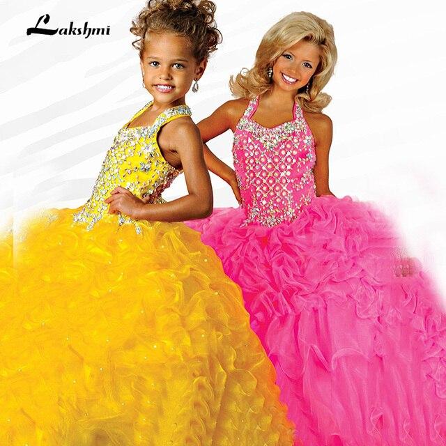 Crystal Puffy Ball vestidos 2016 Barato Amarillo Coral Niñas ...