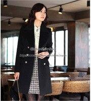 бесплатная доставка праздничная распродажа женская кашемир шерсть куртка зима мода двубортный длинный тонкий плащ пальто 3 цвета Размер 3XL