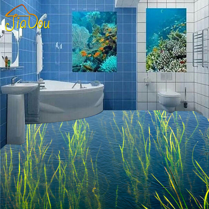 Custom waterproof wallpaper for bathroom blue wave water for Waterproof wallpaper for walls