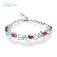 I&zuan 925 Sterling Silver Natural Garnet Red & Blue Stone Bracelet For Women Party Engagement Accessories Diamond Jewelry 5769