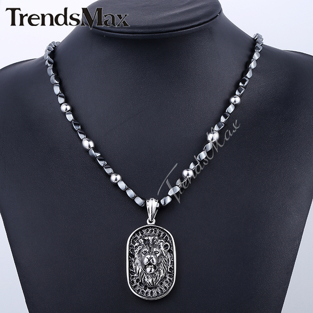 Trendsmax 5mm*68.4cm Iron Gallstone Link Chain 316L Stainless Steel Lion Pendant Necklace Mens Boys Chain Jewelry HN84