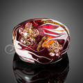 Jenia New Bijouterie Gold Plated Austrian Crystal Dark Red Oil Painting Ring for Men and Women XR112