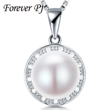 2016 Latest 925 Sterling Silver Pendant&Necklace For Girls, Freshwater Pure Pearl Pendants,10-11mm Huge Pearl Jewellery Necklace