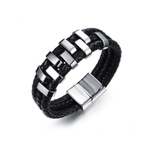 Man's Three Layers Leather Bangles Punk Style 17mm Width with Stainless Steel Decoration Cool Men Jewelry Gift