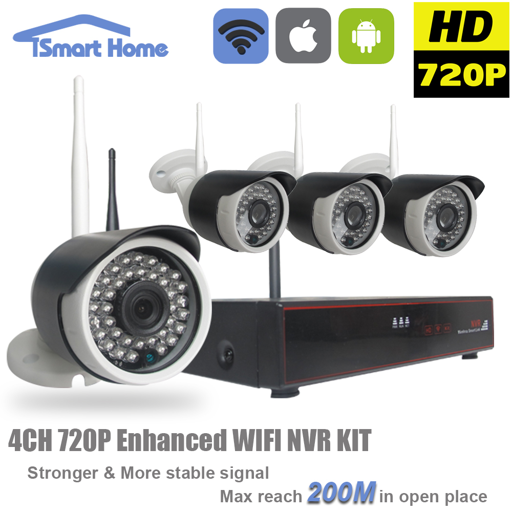 4CH 720P Wireless NVR Kit Outdoor Waterproof Night Vision IP Cam Network Standalone Camera System Surveillance Video Security