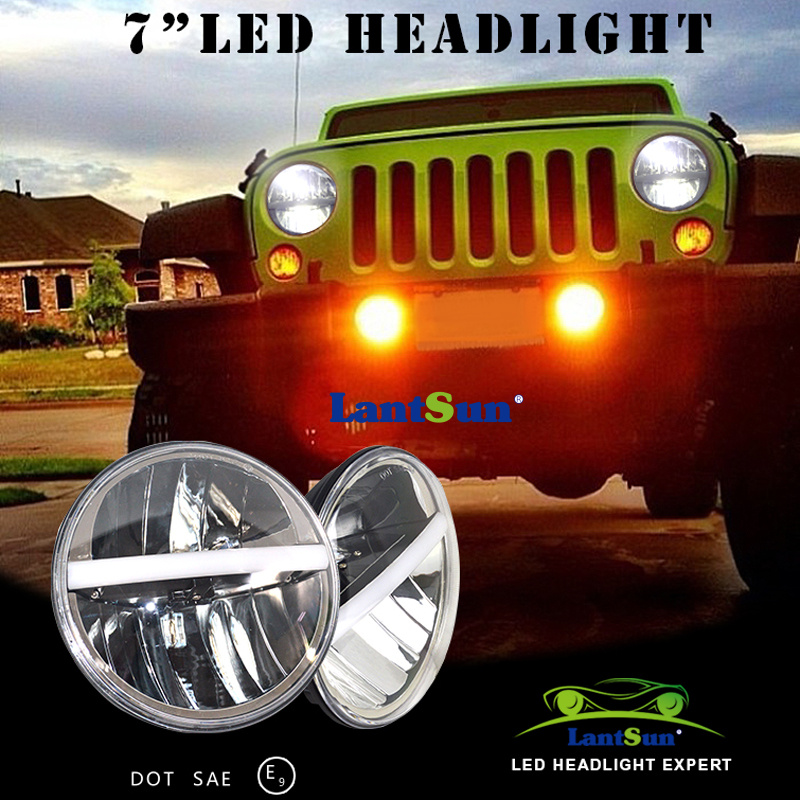 Pair J226 plug and play round 7inch 20w led headlight with DRL H4 H13 for wrangler TJ LJ JK, CJ-5, CJ-7, CJ-8 Scrambler whdz 1pc round 7inch 75w round led headlight hi low beam head light with bulb drl for jeep wrangler tj lj jk cj 7 cj 8 scrambler