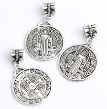 60ps 35x22mm Antique Silver Saint Benedict Medal Cross Big Hole Beads Fit European Charm Bracelets B1643