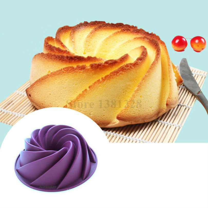 24.5*8.9cm Big Swirl Shape Silicone Butter Cake Mould Kitchen Baking Tools For Cakes <font><b>Bakery</b></font> Accessories Bakeware Mold