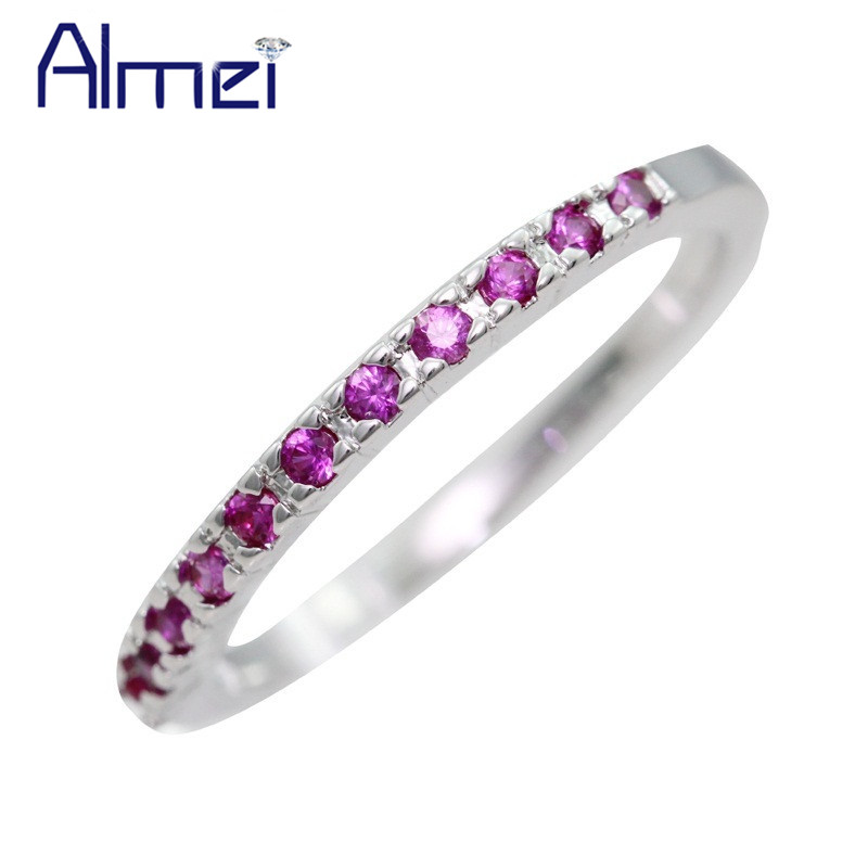almei small red cz zircon ring for men and women female silver color jewelry purplewhite crystal anel wedding rings j029 - Purple Diamond Wedding Ring