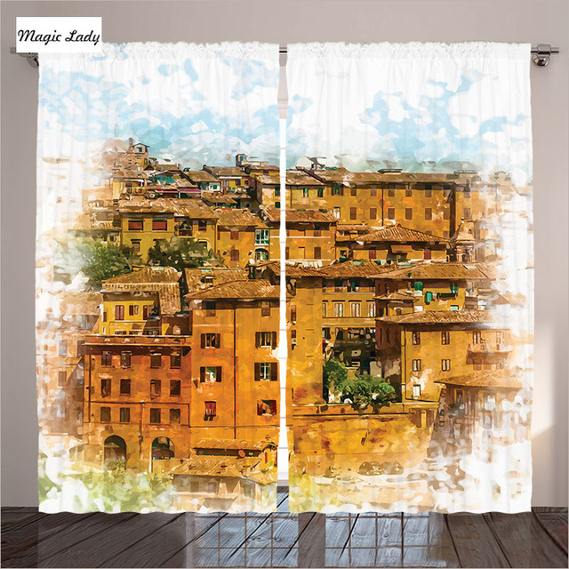 House Decor Tuscan Curtains Historical Italian Town Traditional Buildings Orange White Living Room B