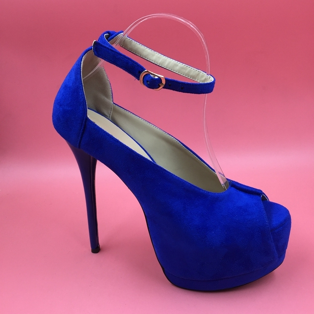 d70341da6469 Royal Blue Super High Heel Women Pumps Ankle Strap Peep Toe Thick Platforms  Blue Heels Sapato Feminino Sexy Shoes True To Size