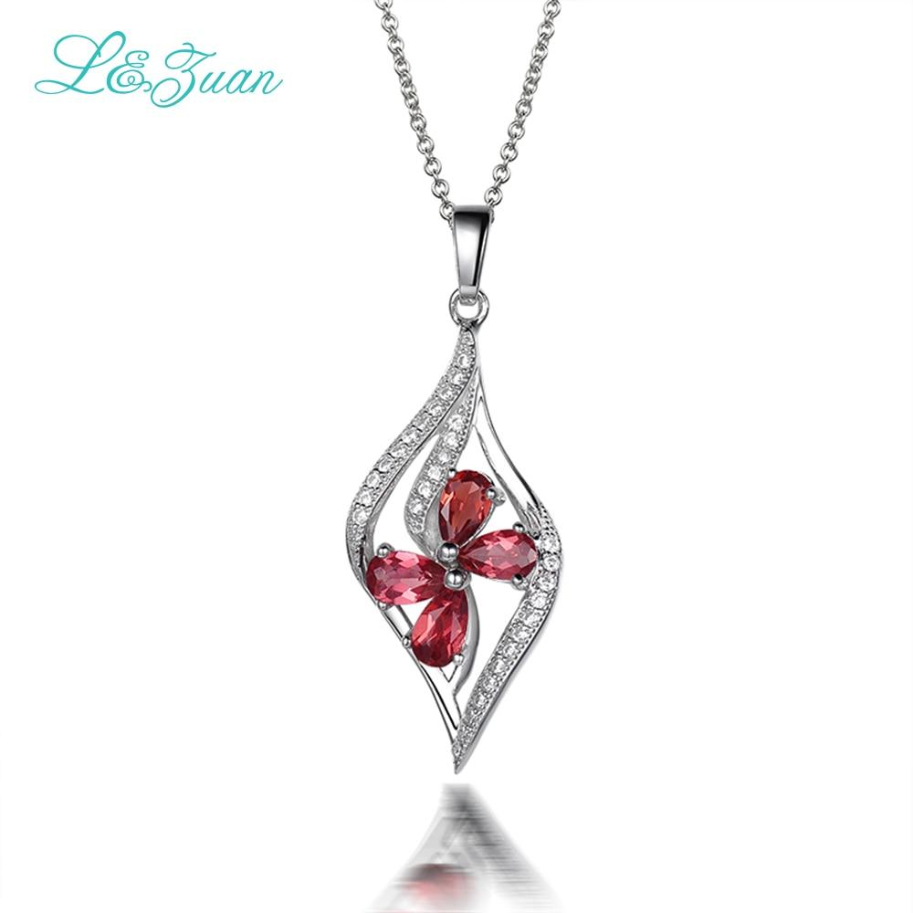 l&zuan garnet 925 Silver Woman pendants necklaces trendy ...