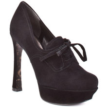 Modest Black/Brown Lace-up Round Toe Women Shoes High Heels Pumps Made-to-order sapatos femininos Plus Size 14 Platform Shoes