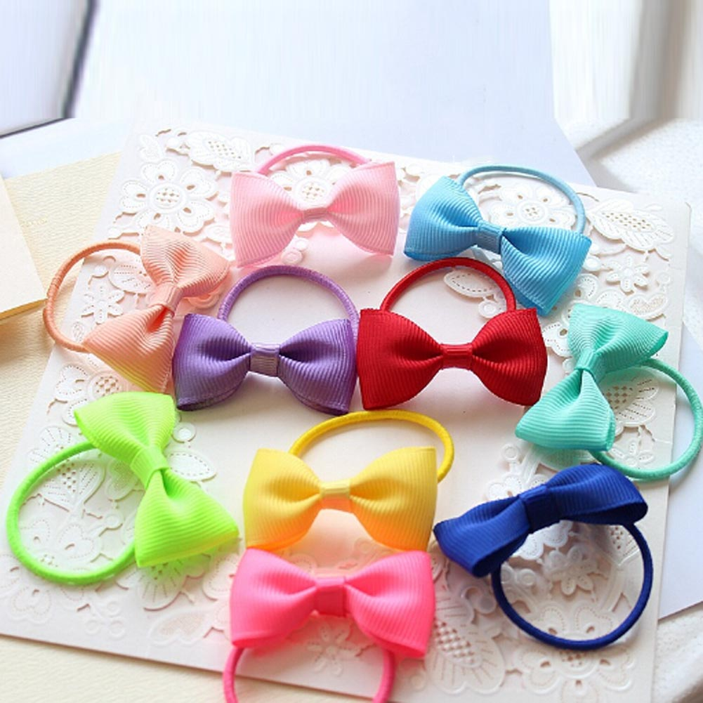 1PC Colorful Baby Girls Hair Ropes Ribbon Bows Elastic Hair Rubber Bands Kids Ponytail Holder Children Hair Accessories Ties Gum grosgrain ribbon kids boutique hair bow alligator clip toddlers elastic hair rubber bands hair ties girls hair accessories z21