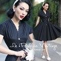 Le palais de la vendimia de las mujeres 50 s polka dot cuello midi columpio poco negro shirt dress plus tamaño 4xl vestido rockabilly pinup vestidos