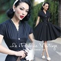 le palais vintage women 50s polka dot collar midi swing little black shirt dress plus size 4xl vestido rockabilly pinup dresses