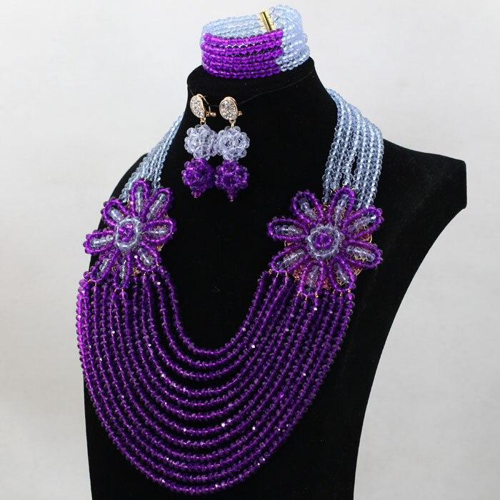 2017 Latest Lilac Purple Wedding Beads African Jewelry Set Flower ...