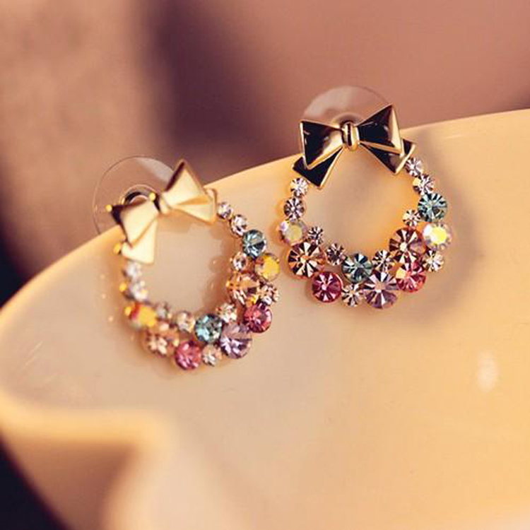 Free Shipping New Fashion Vintage Imitation Colorful Rhinestone Bow Earrings Jewelry For Gift