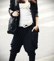 мода женщин Stretch Li стиль хип-хоп мешковатые широкий брюки Cherry