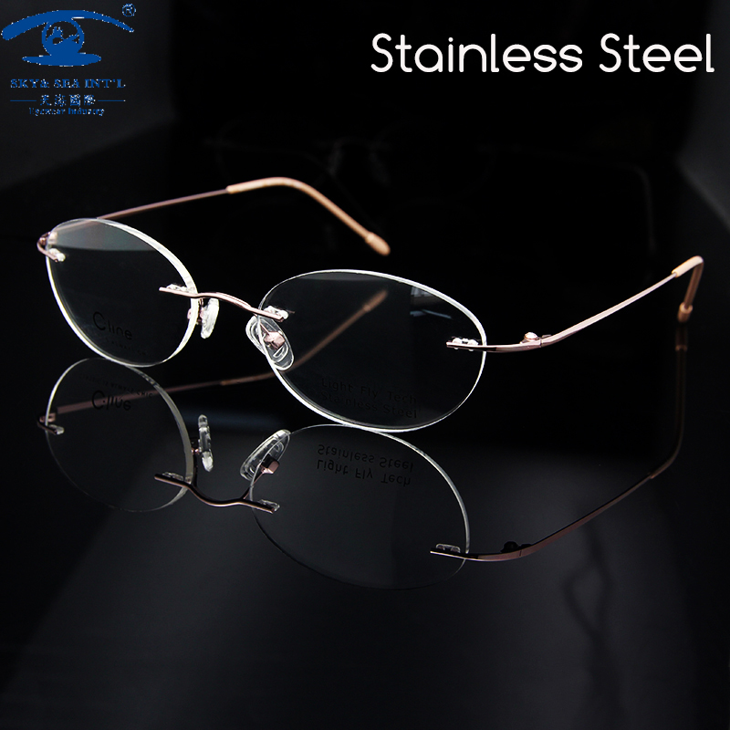 1cca00c228 New Retro Luxury Rimless Eyeglass Frames Woman Pink Color Spectacles ...